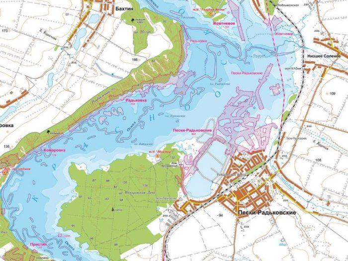 Карта глубин Краснооскольское водохранилище