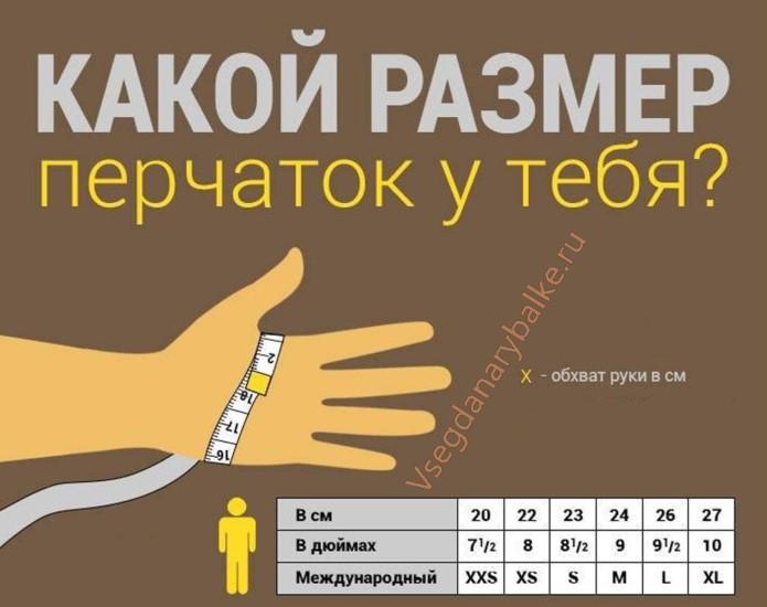 Подбор размера перчаток